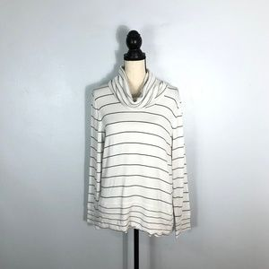 Cable & Gauge White Striped Turtleneck Sweater- XL